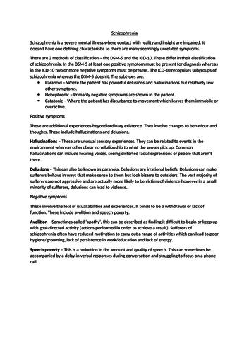 Schizophrenia Revision Guide - AQA A2 Psychology