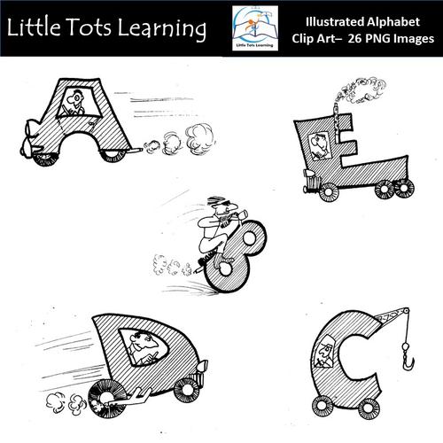 Alphabet Clip Art - Illustrated Alphabet Clip Art - Transportation