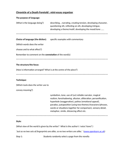 Business Plan Writers Dublin Chronicle Of A Death Foretold Mini Essay Organizer By Macleopl  Teaching  Resources  Tes Business Plan Custom Home Builder also Best Freelance Writer Websites Chronicle Of A Death Foretold Mini Essay Organizer By Macleopl  Thesis Statement Analytical Essay
