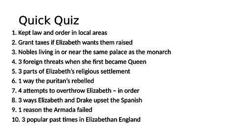 Elizabethan England Revision and timeline