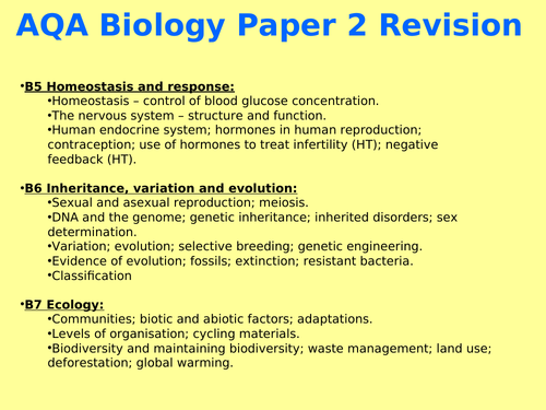 AQA Biology Paper 2 GCSE (Combined/Trilogy) Revision power point