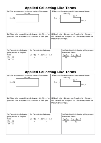 Applied Collecting Like Terms / Simplifying Algebra - Maths Problem Solving Worksheet + Answers