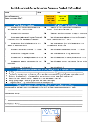 Poetry  Comparison Assessment Feedback Sheet _ FAR Marking_2018