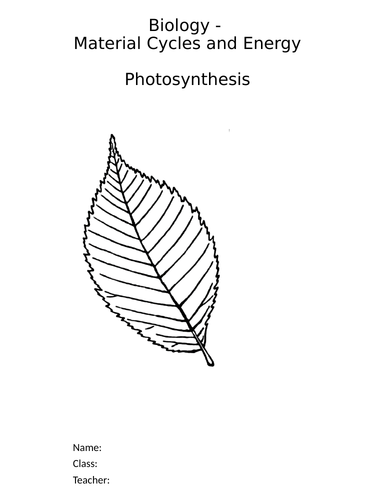 Biology - Photosynthesis - Complete Science Key Stage 3 Unit