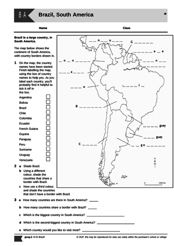 Geography KS3 Brazil - Whole module (8 lessons) including homework and assessment