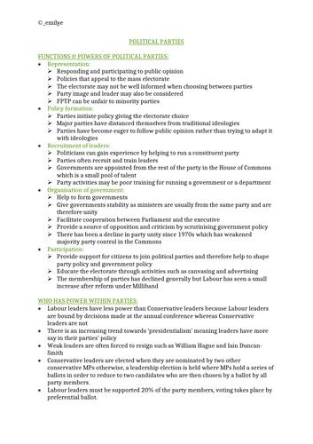 Political Parties -Edexcel Politics A-Level 9PL0