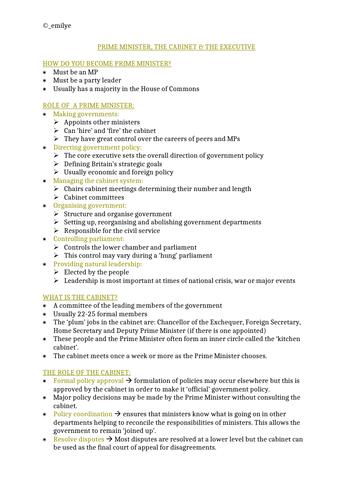 Prime Minister, The Cabinet & The Executive -Edexcel Politics A-Level 9PL0