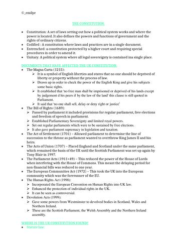 The Constitution- Edexcel Politics A-Level 9PL0