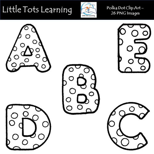 Polka Dot Alphabet Clip Art - Alphabet Clip Art - Black and White