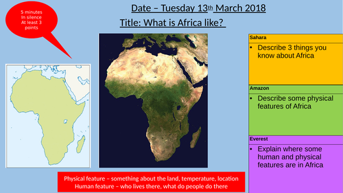 Geography KS3 Africa - Whole module (8 lessons) including homework and assessment