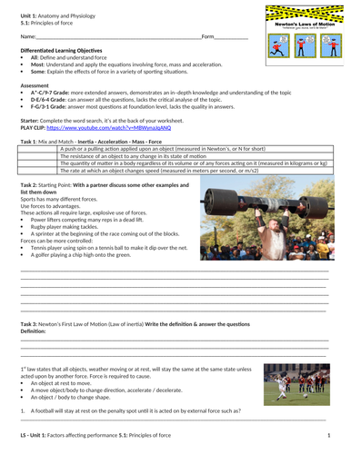 IGCSE PE (new spec 2018) 5.1. Principles of force by simisterlucy ...