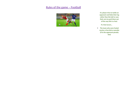 Rules of the game resource card - football and rugby