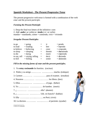 Present Progressive Spanish Worksheet