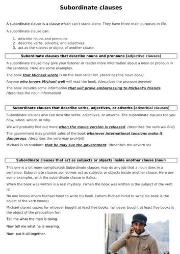 Developing writing using subordinate clauses