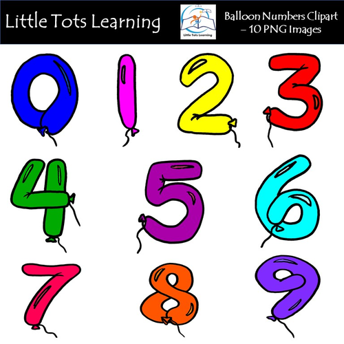 Balloon Numbers Clipart - Balloon Numbers - Commercial Use