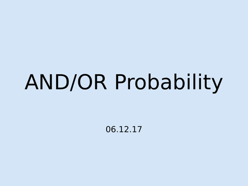 LEGO Probability Lesson - AND/OR