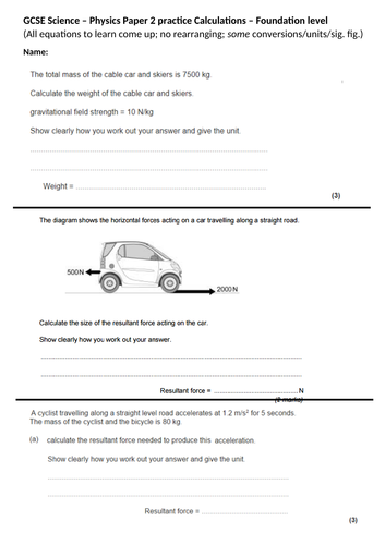 GCSE Science/Physics paper 2 calculation practice - Higher & Foundation (topic 5-7) + ANSWERS [AQA]