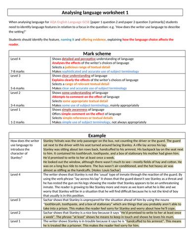 AQA English Language - analysing language 1