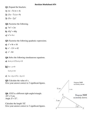 GCSE Foundation- Revision worksheet 1