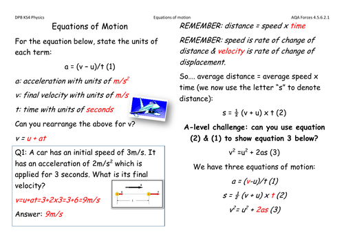 Equations of motion solutions