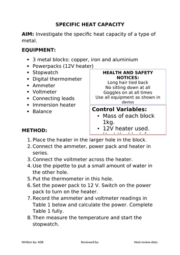 2018 AQA GCSE Physics Unit 1 (P1): Specific Heat Capacity Required Practical (L6)
