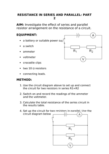 2018 AQA GCSE Physics Unit 1 (P1): Resistance - Series and Parallel  Circuits Required Practical