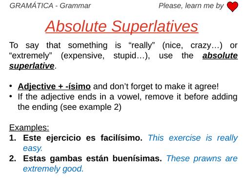 Comparatives, Superlatives and Absolute Superlatives - Grammar Work