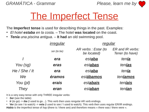 Imperfect Tense - Grammar Work