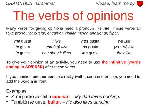 Verbs of Opinion - Grammar Work