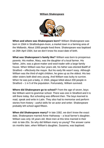 William Shakespeare Knowledge Organiser and Context Notes