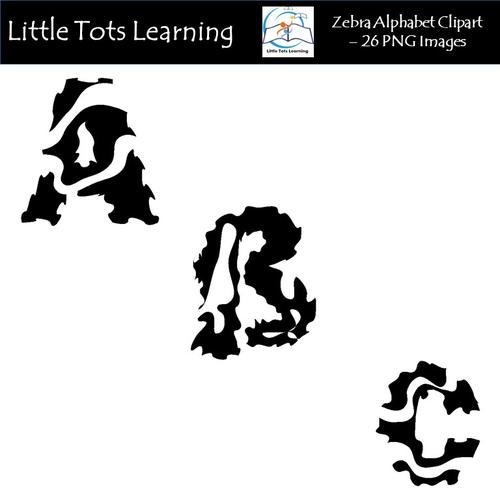 Zebra Alphabet Clip Art - Alphabet Letters - Commercial Use