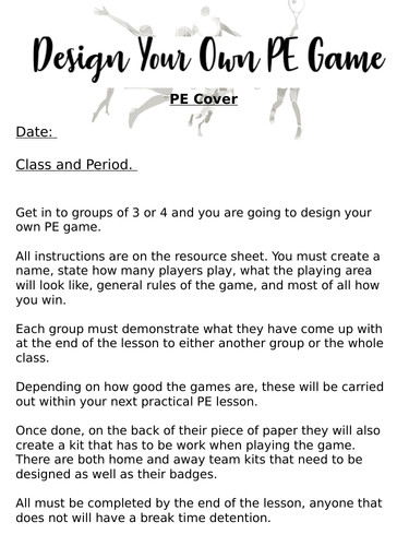 Design Your Own Pe Game Teaching Resources