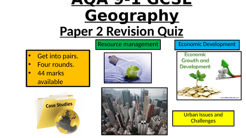 AQA Geography GCSE 9-1 - Paper 2 revision quiz