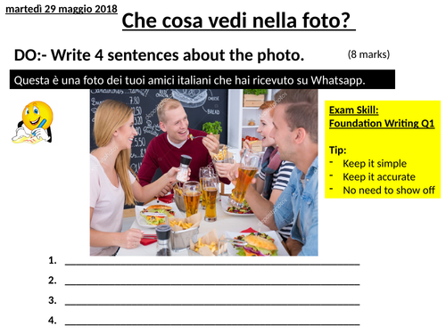 Italian Describing a Photo for Writing & Speaking - NEW GCSE