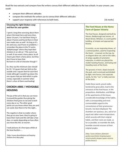 CATCHUP: AQA English Language 8700 paper 2 question 4