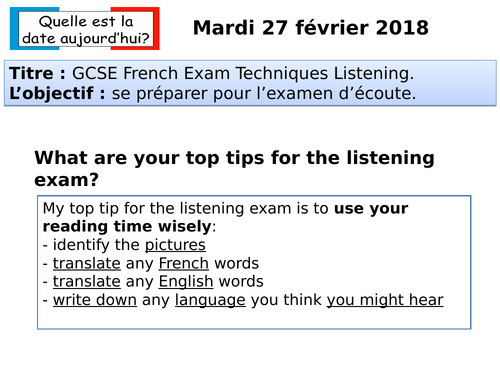 GCSE French Exam Techniques Listening