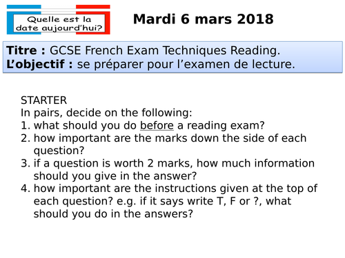 GCSE French Exam Techniques Reading.