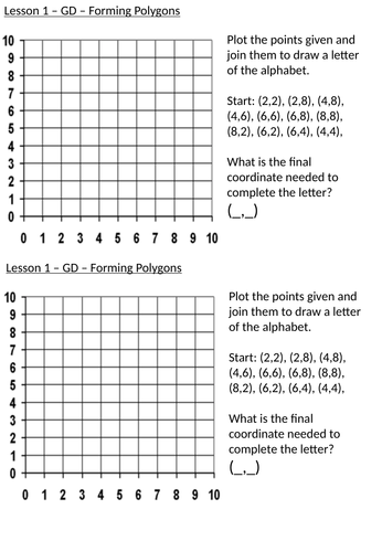 Translations and Coordinates - Year 4 Maths Planning and Resources