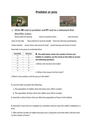 Predator or Prey Worksheet