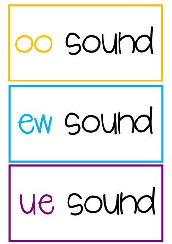 oo, ue and ew word sorting activity/display