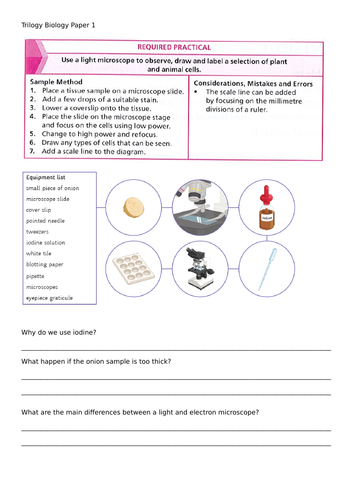 Trilogy Required Practical Booklet with Questions for Revision