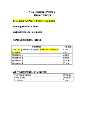 Timings for AQA Language Papers 1 & 2