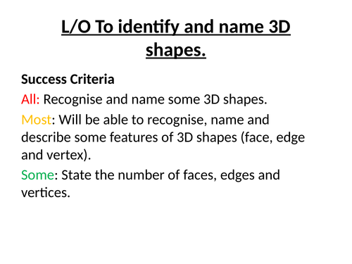 Year 1 Geometry