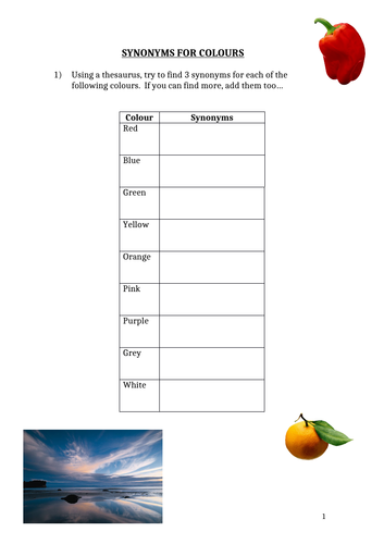Descriptive Writing Colour Synonyms Worksheet