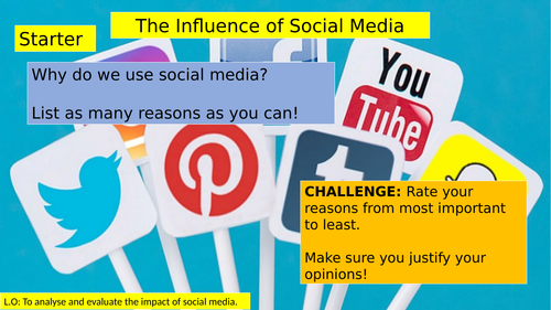 (KS3 7/8/9) Social Media Influences on Teenagers