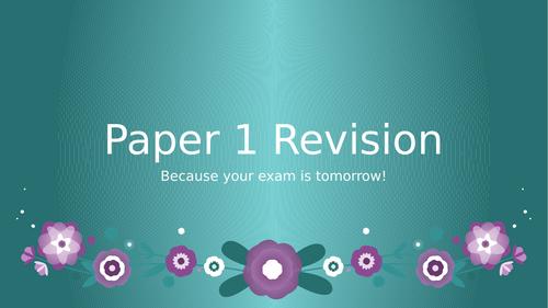 AQA English Language Paper 1 Pre-Exam Revision