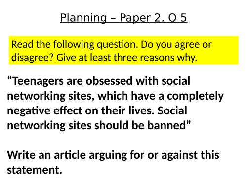 Language Paper 2 - Q5 Planning
