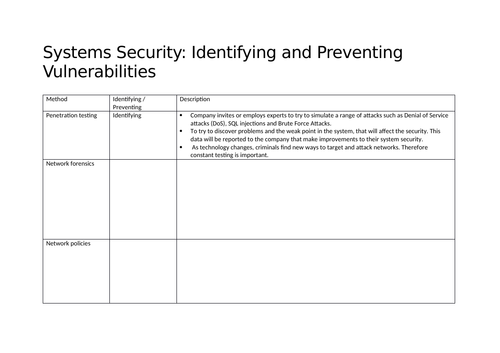 OCR GCSE (9-1) Computing - Systems Security
