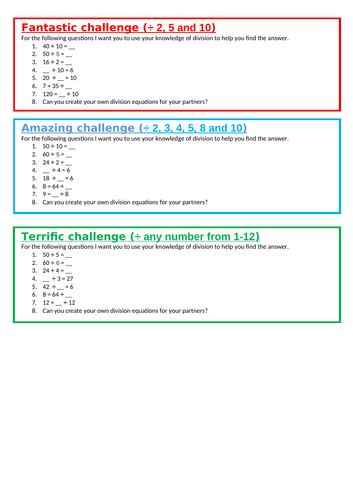 Multiplication and Division word problems LKS2 Maths weeks Planning and resources