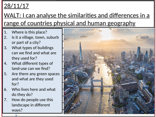 KS2 Geography lesson looking at identifying physical and human geography features